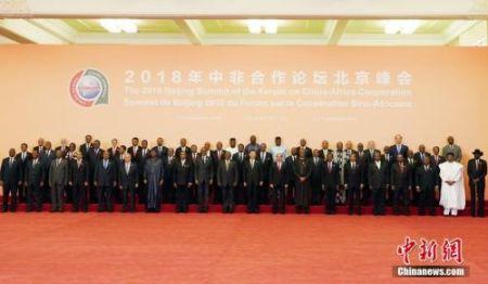 9月3日下午,中非合作论坛北京峰会在北京人民大会堂开幕,中国国家主席习近平出席开幕式并发表主旨讲话。图为习近平和外方领导人合影。中新社记者 毛建军 摄