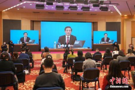 3月4日晚,十三届全国人大四次会议新闻发布会在北京人民大会堂新闻发布厅举行。图为分会场。 中新社记者 蒋启明 摄