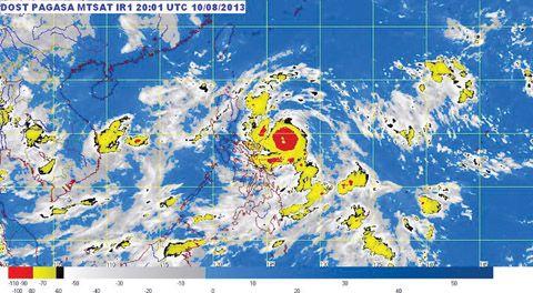 菲气象局提供的台风「拉武尤」卫星云图.葛丹恋尼斯省悬挂3号风图片